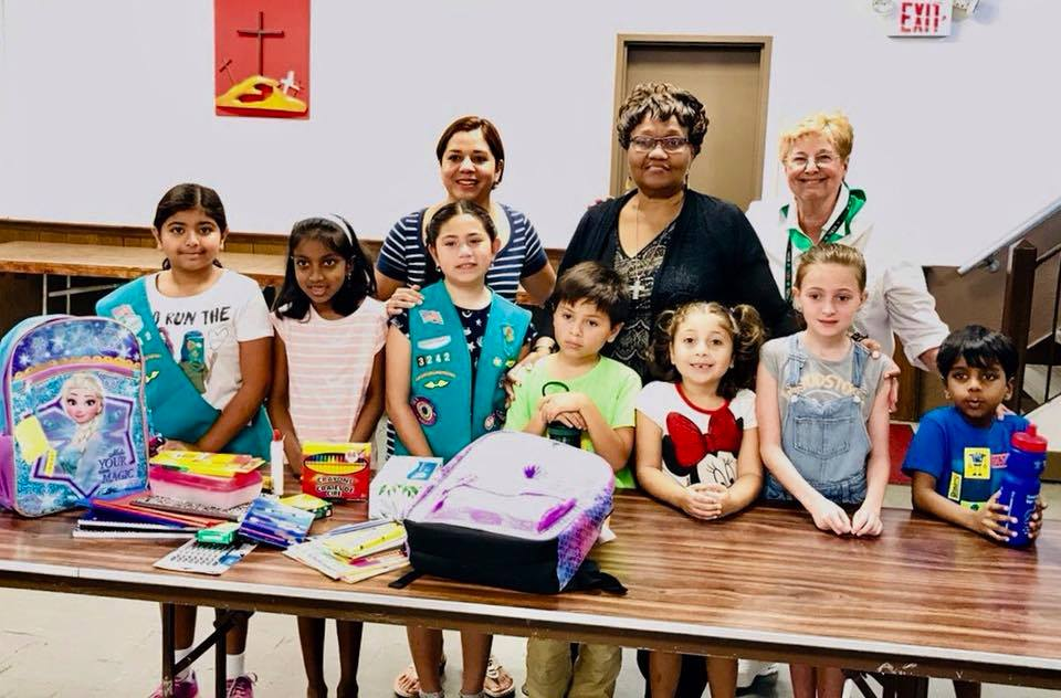 Our Girl Scouts (Daisies) Collected Supplies for An After-School Program